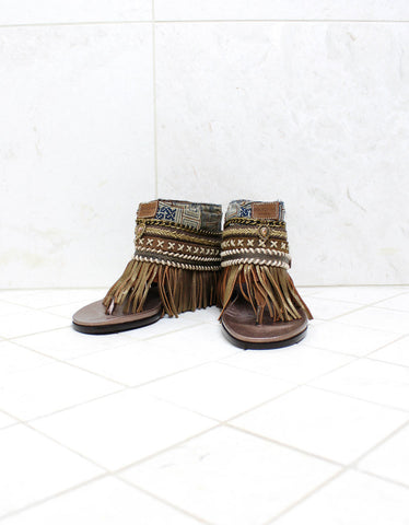 Custom Made Boho Sandals in Brown | SIZE 37