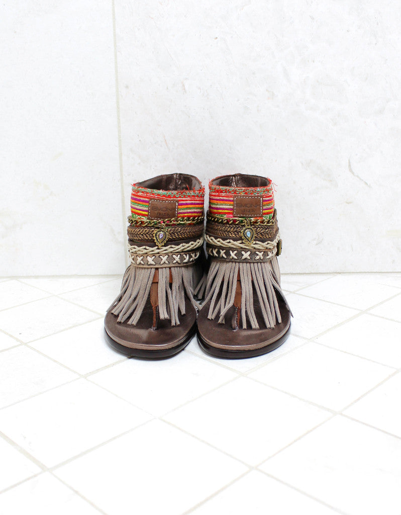 Custom Made Boho Sandals in Brown | SIZE 38