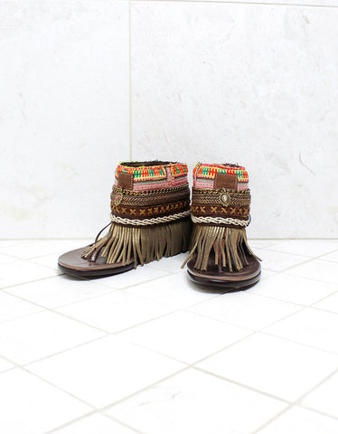 Custom Made Boho Sandals in Brown | SIZE 39