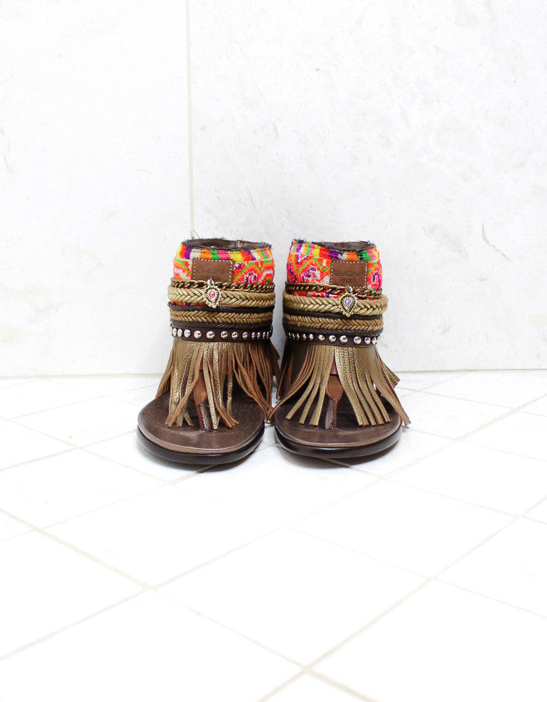 Custom Made Boho Sandals in Brown | SIZE 40
