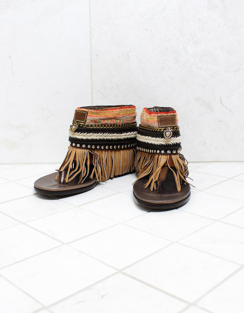 Custom Made Boho Sandals in Brown | SIZE 41