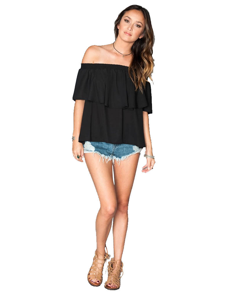 Show Me Your Mumu Bungalow Top in Black Crisp - SWANK - Tops - 1