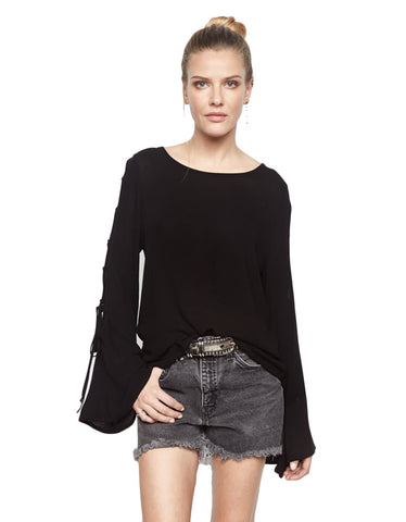 Michael Lauren Call Lace Up Sleeve Top in Black