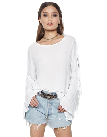 Michael Lauren Call Lace Up Sleeve Top in White