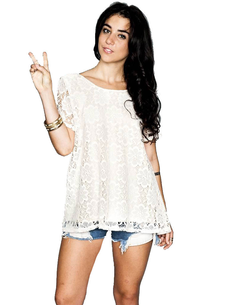 Show Me Your Mumu Camden Top in Cream Daisy Crochet - SWANK - Tops