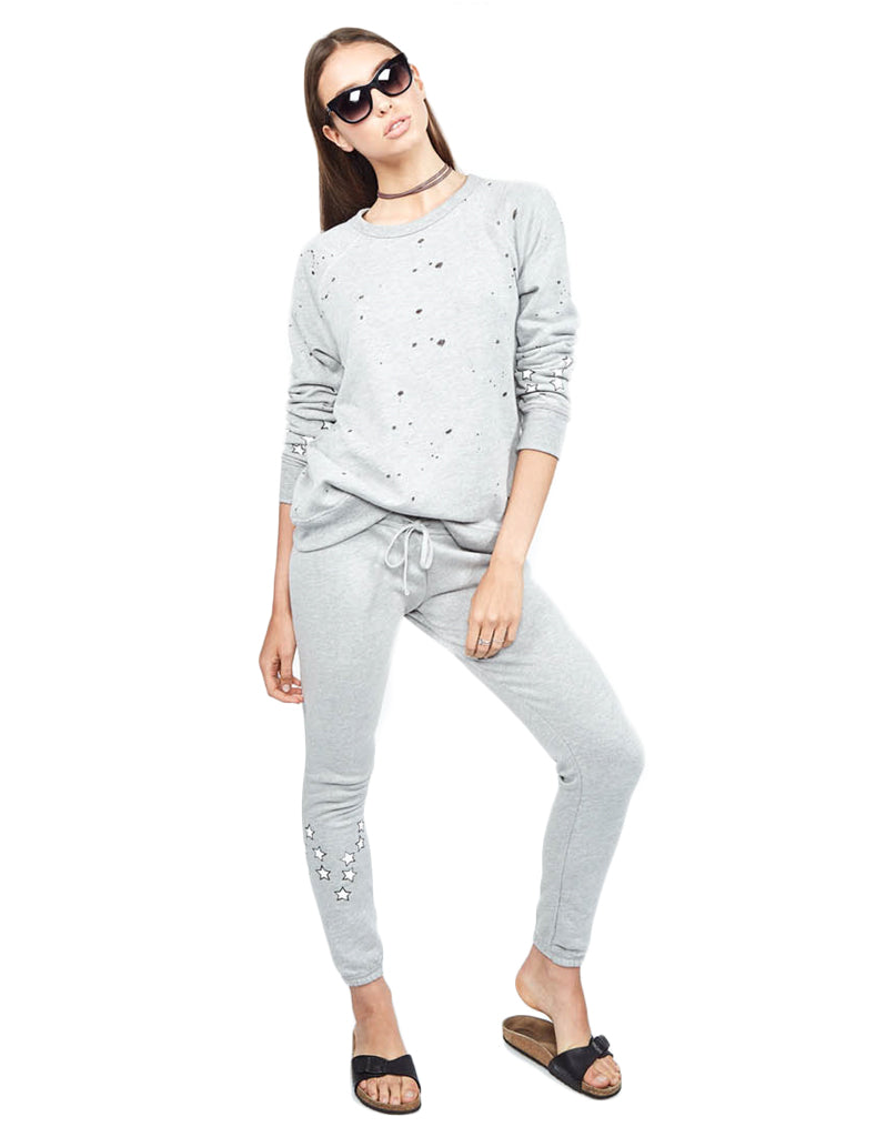 Michael Lauren Campbell Jogger w/Stars in Heather Grey