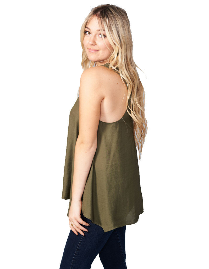 Show Me Your Mumu Cara-Van Top in Olive Silky Satin - SWANK - Tops - 1