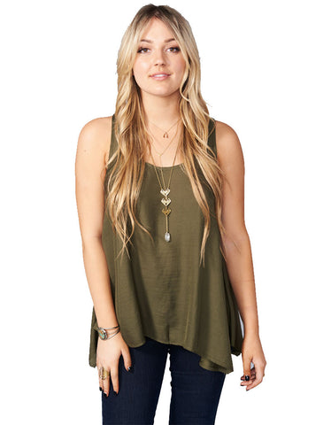 Show Me Your Mumu Cara-Van Top in Olive Silky Satin
