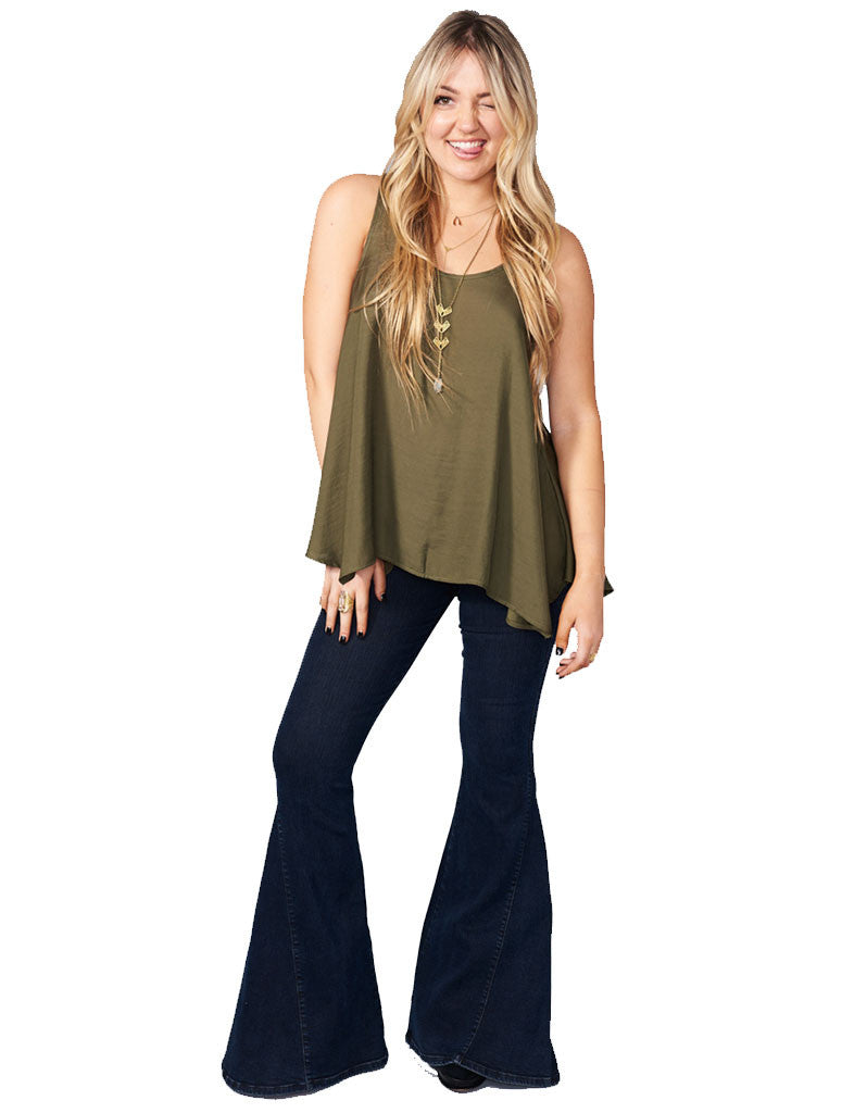 Show Me Your Mumu Cara-Van Top in Olive Silky Satin - SWANK - Tops - 4
