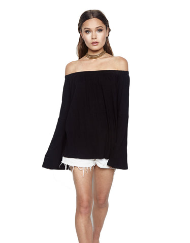 Michael Lauren Carmelo Bell Sleeve Open Shoulder Top in Black