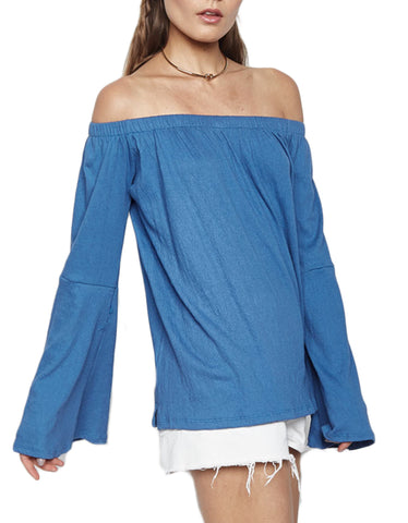 Michael Lauren Carmelo Bell Sleeve Open Shoulder Top in Star Blue