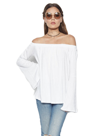 Michael Lauren Carmelo Bell Sleeve Open Shoulder Top in White