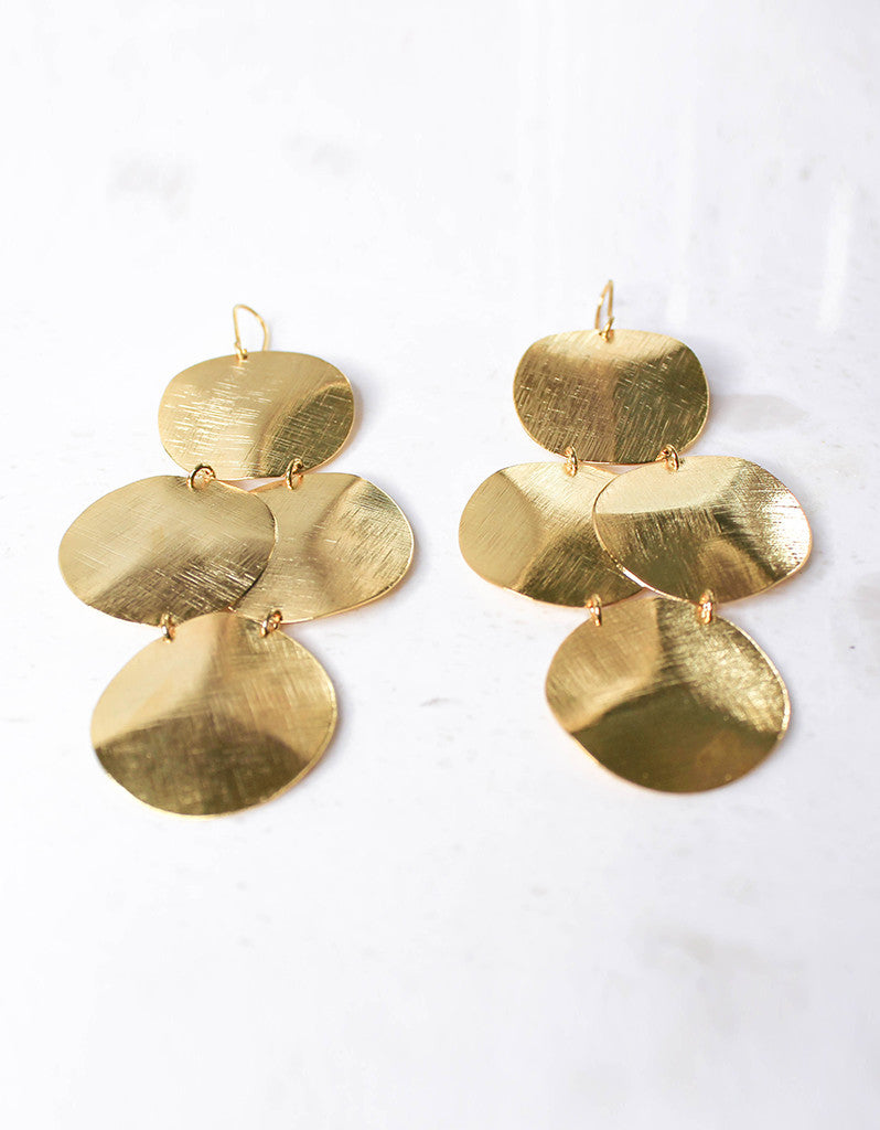 Gold Luxury Big Disc Earrings - SWANK - Jewelry - 4