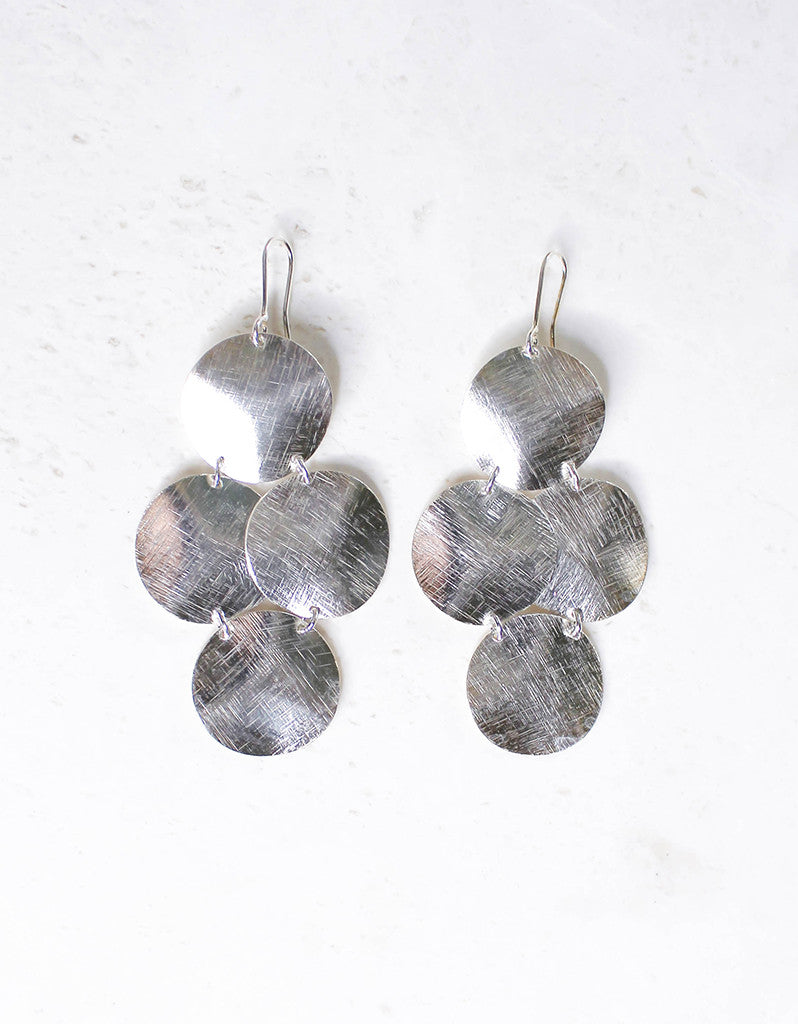 Silver Luxury Big Disc Earrings - SWANK - Jewelry - 3