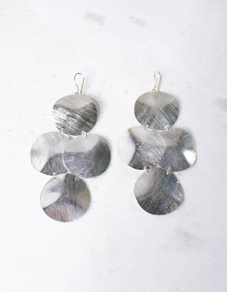 Silver Luxury Big Disc Earrings - SWANK - Jewelry - 4