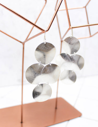 Silver Luxury Big Disc Earrings
