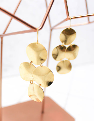 Tear Chandelier Earrings in Gold