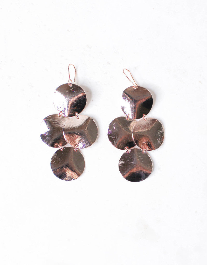 Rose Gold Luxury Small Disc Earrings - SWANK - Jewelry - 3