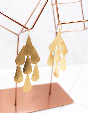 Gold Luxury Tear Chandelier Earrings