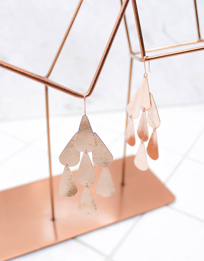 Rose Gold Luxury Tear Chandelier Earrings - SWANK - Jewelry - 3