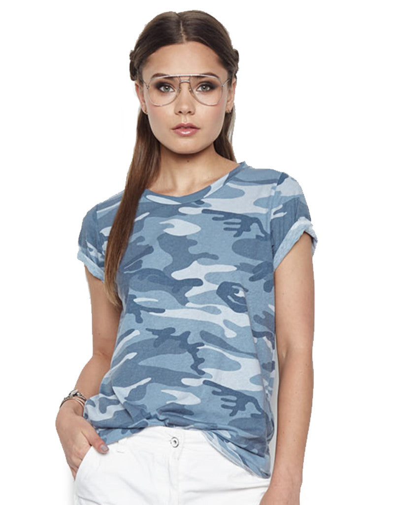Michael Lauren Cliff Classic Tee in Ocean Camo