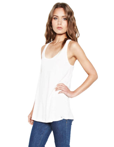 Michael Lauren Filippo Open Shoulder Scoop Neck Top in Tidepool