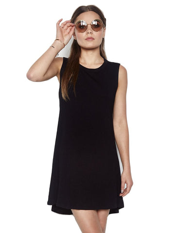 Michael Lauren Cyd Sleeveless Open Back Mini Dress in Black