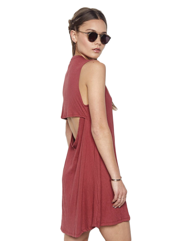 Michael Lauren Cyd Sleeveless Open Back Mini Dress in Currant