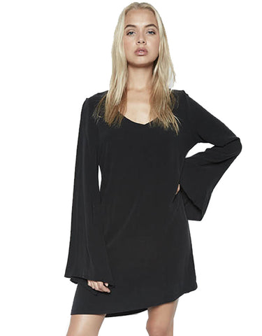 Michael Lauren Cage Bell Sleeve Mini Dress in Caviar