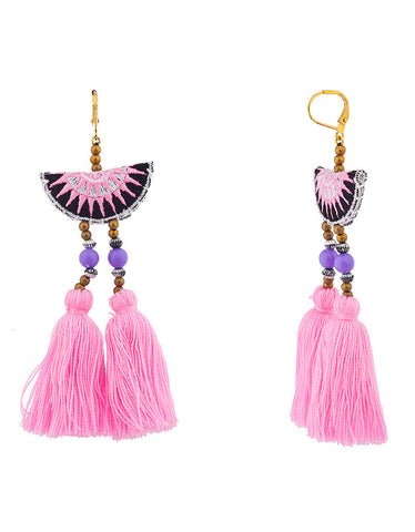 Vintage Snoot Stone Tassel Earrings in Purple/Teal