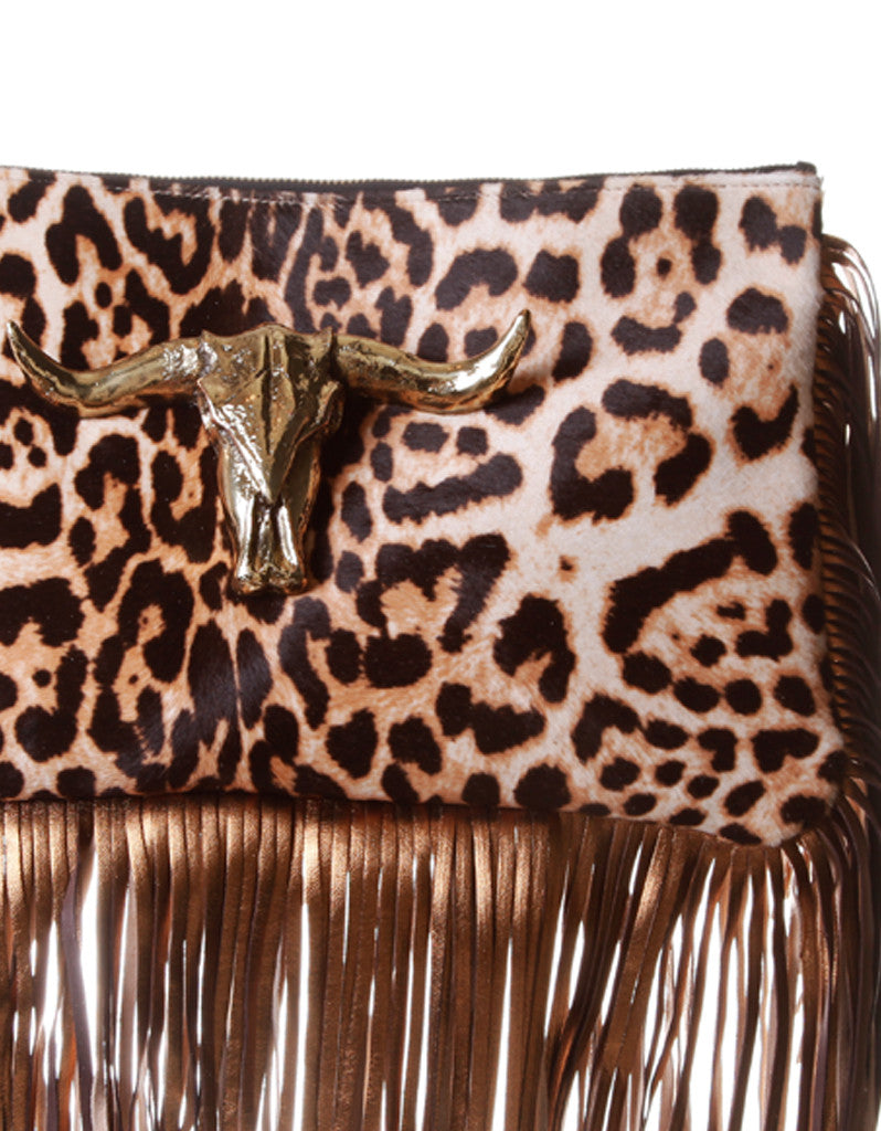 Capazonia Ceilan XL Fringe Clutch in Leopard - SWANK - Handbags - 2