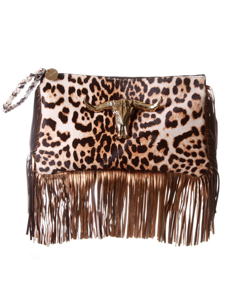 Capazonia Ceilan XL Fringe Clutch in Leopard - SWANK - Handbags - 1
