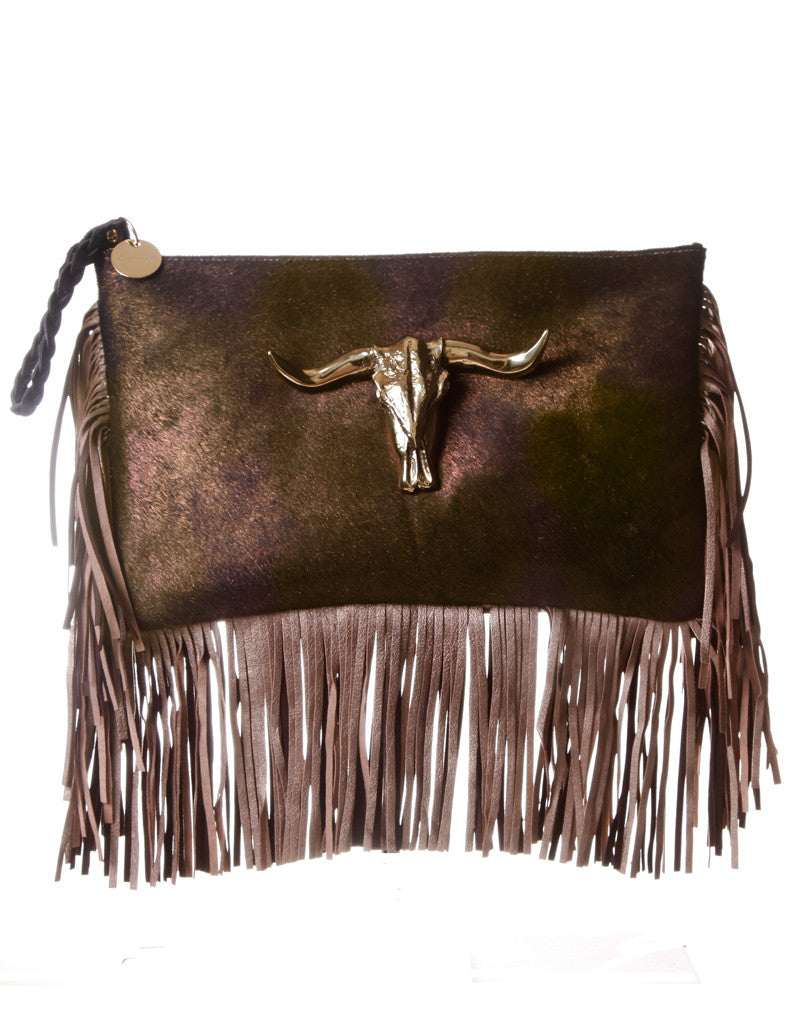 Capazonia Ceilan XL Fringe Clutch in Bronze - SWANK - Handbags - 1