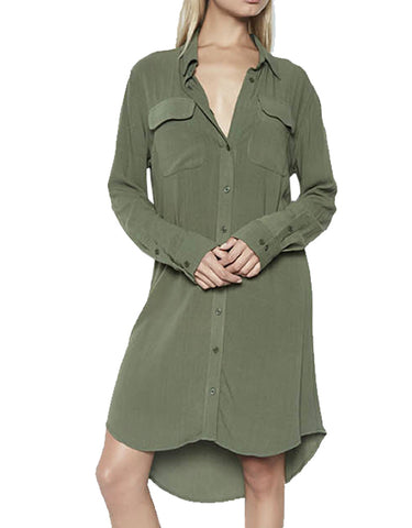 Michael Lauren Charlie L/S Button Up Shirt Dress in Military