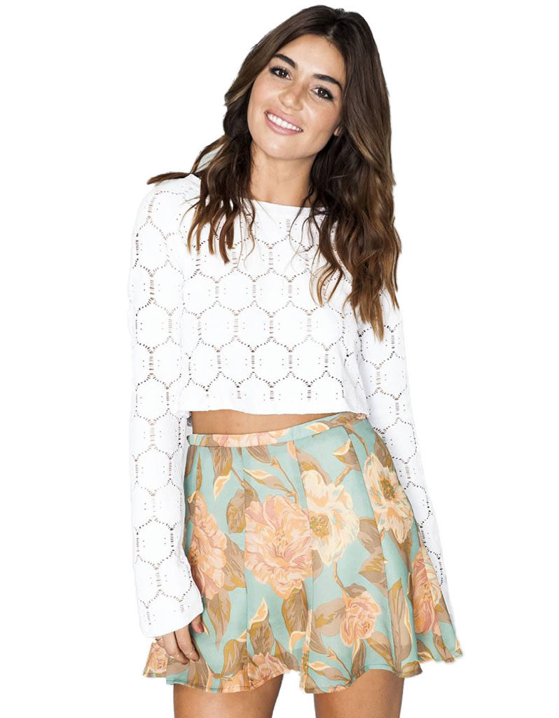 Show Me Your Mumu Cher Crop Flower Top in Stretch White - SWANK - Tops