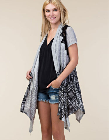 Michael Lauren Hastings Zip Up Hoodie w/Chevron Stripes