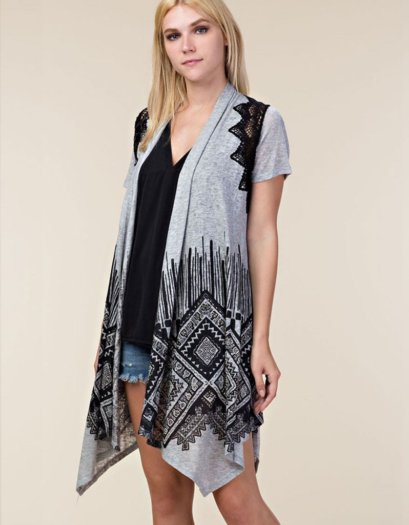 Claire Cap Sleeve Cardigan in Heather Grey & Black