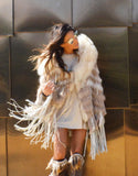 """The Emily"" Cream Fringe and Fur Hooded Poncho - SWANK - Outerwear - 4"
