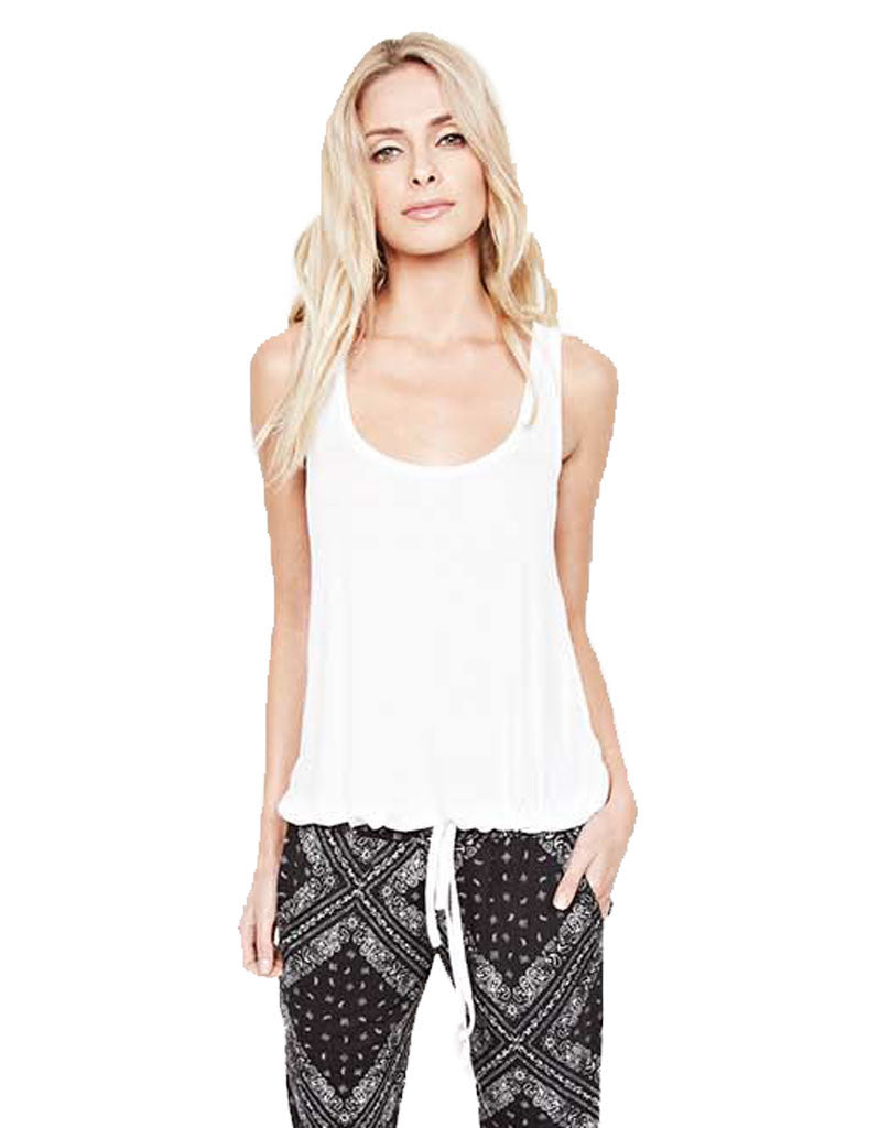 Michael Lauren Crosby Drawstring Tank in White - SWANK - Tops - 1
