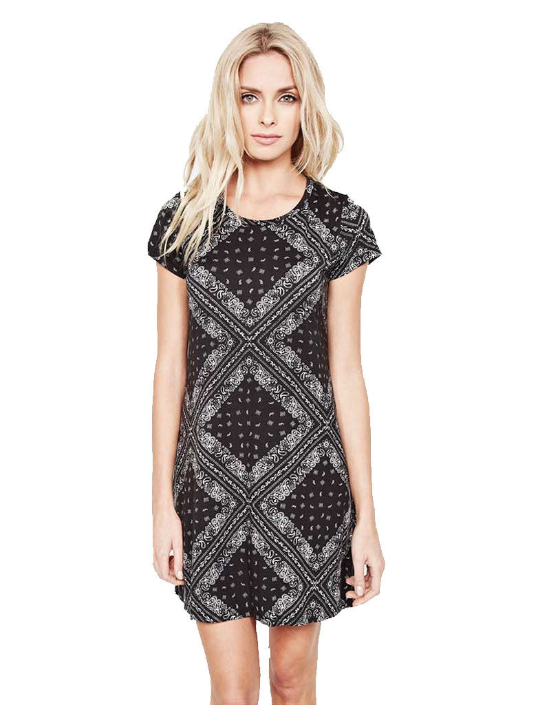 Michael Lauren Cuba Mini T-Shirt Dress in Bandana - SWANK - Dresses - 1