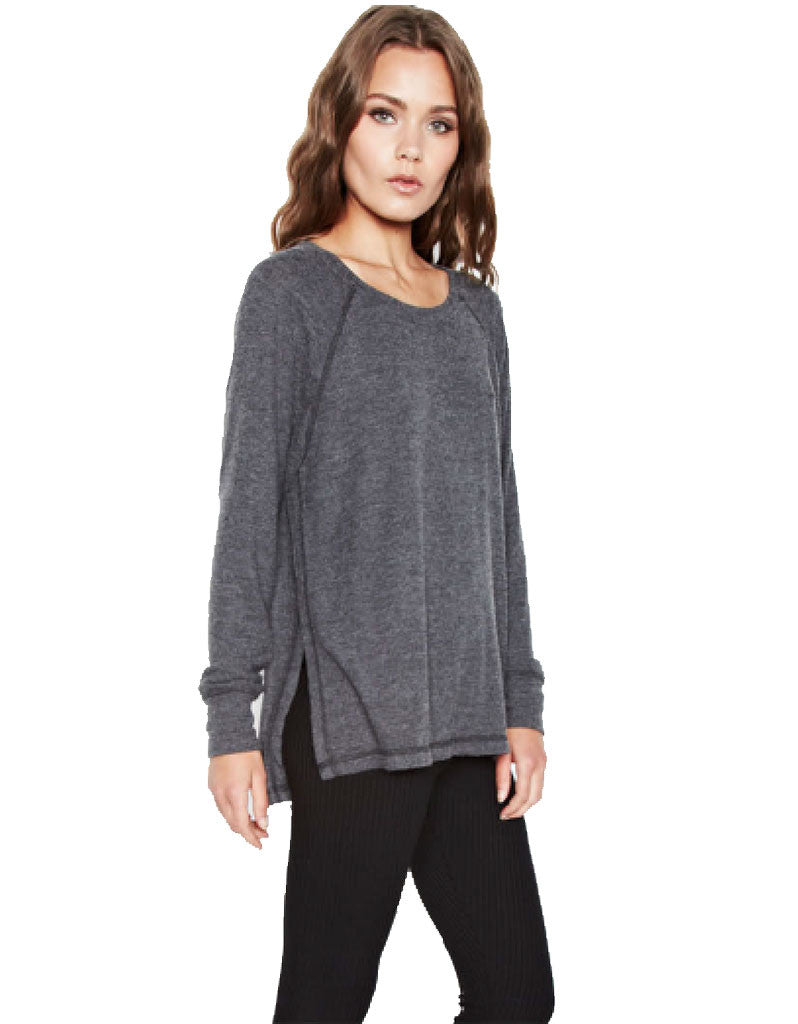 Michael Lauren Desi Pullover in Black Charcoal - SWANK - Tops - 1
