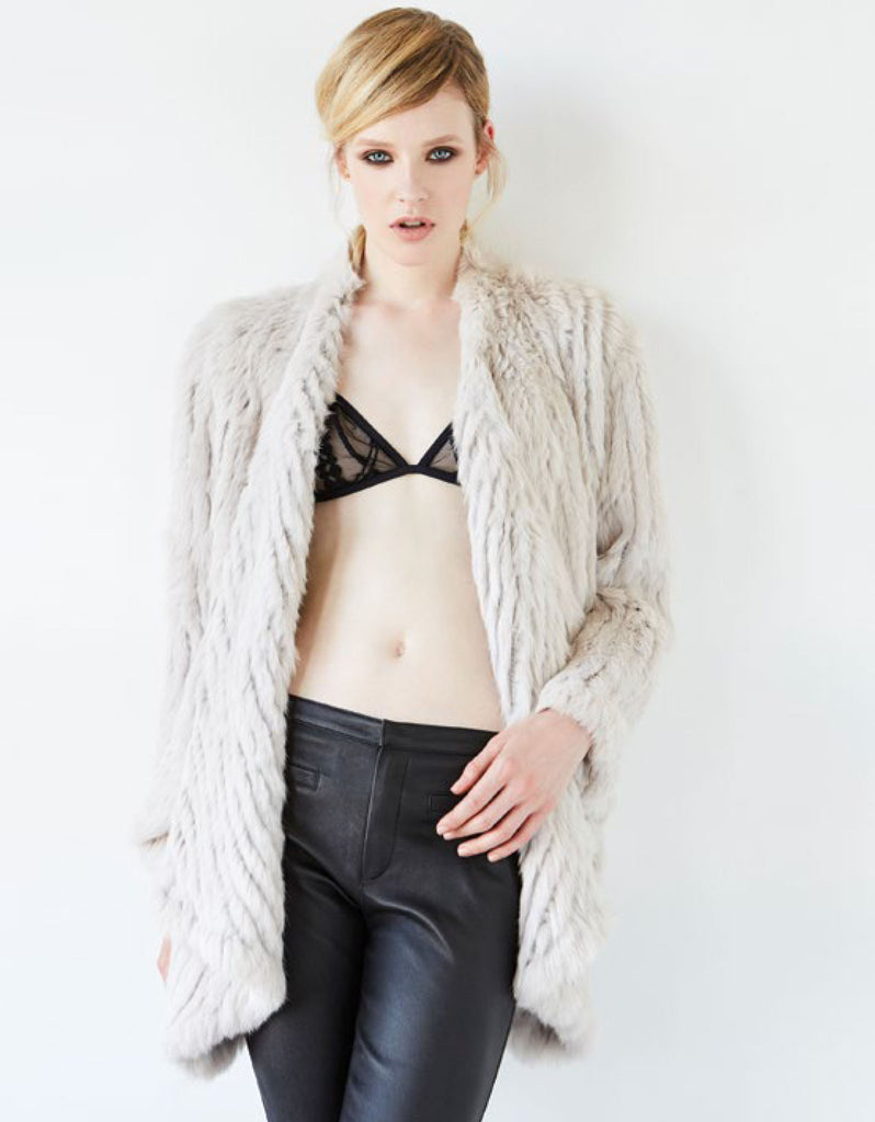 Arielle Draped Jacket in Stone - SWANK - Jacket
