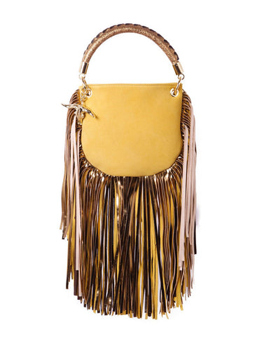Capazonia Ceilan XL Fringe Clutch in Leopard