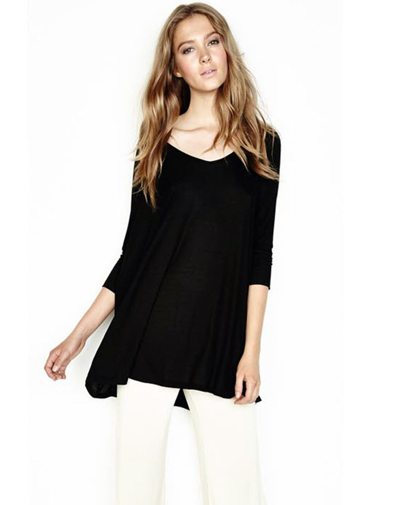 Michael Lauren Dylan 3/4 V-Neck Draped Tee *Available in Multiple Colors* - SWANK - Tops - 1