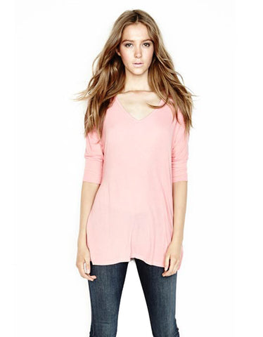 Michael Lauren Dylan 3/4 V-Neck Draped Tee