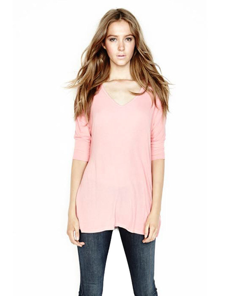 Michael Lauren Dylan 3/4 V-Neck Draped Tee *Available in Multiple Colors* - SWANK - Tops - 2
