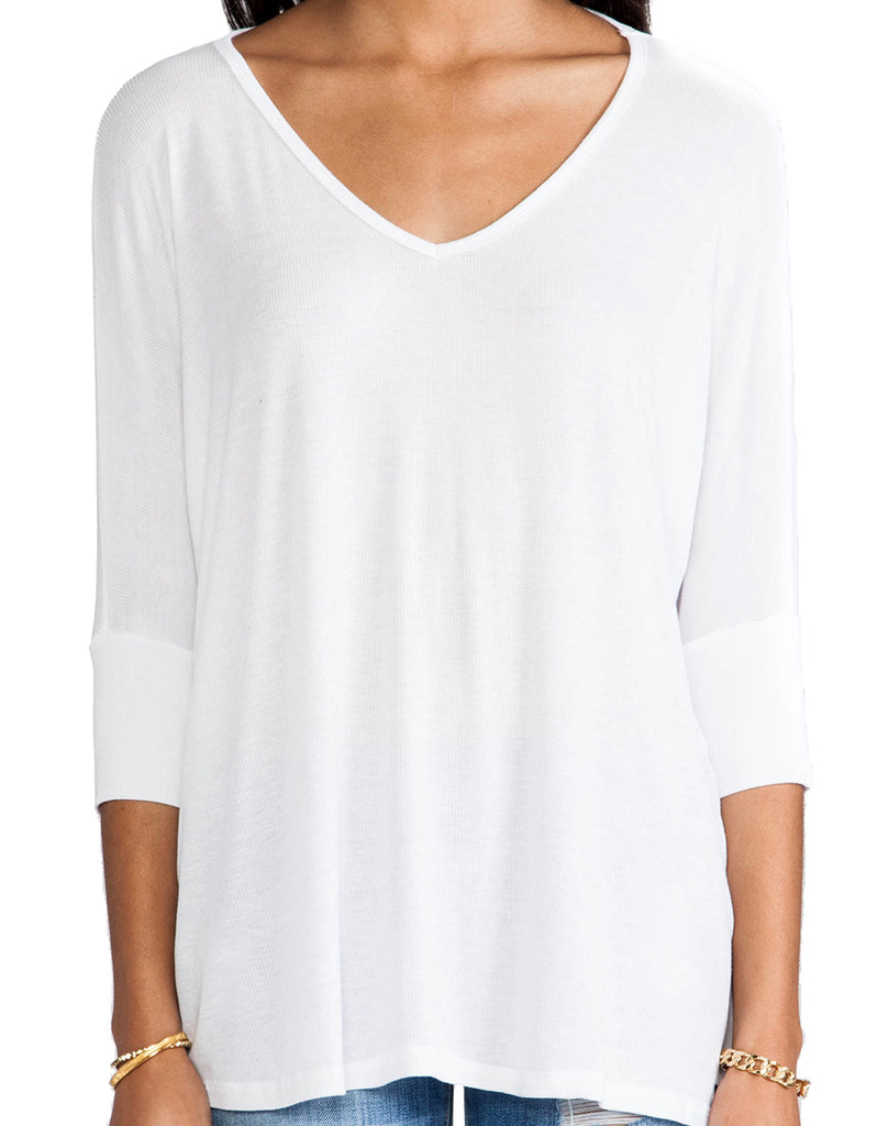 Michael Lauren Dylan 3/4 V-Neck Draped Tee *Available in Multiple Colors* - SWANK - Tops - 6