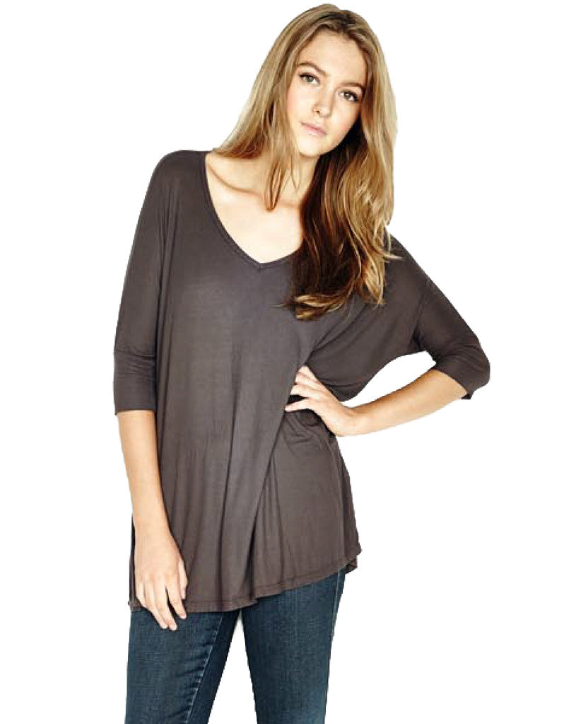 Michael Lauren Dylan 3/4 V-Neck Draped Tee *Available in Multiple Colors* - SWANK - Tops - 3