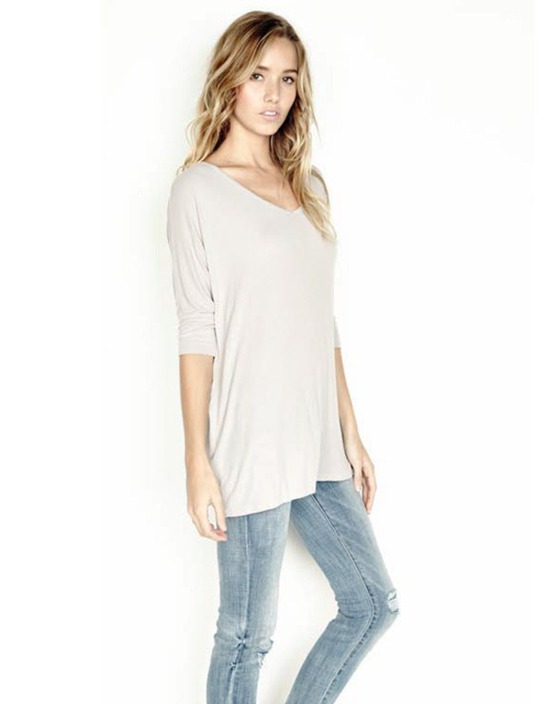 Michael Lauren Dylan 3/4 V-Neck Draped Tee *Available in Multiple Colors* - SWANK - Tops - 4