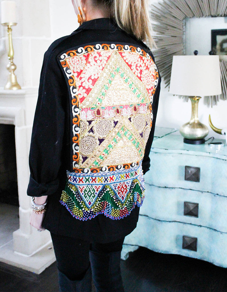 Vintage Embroidered Army Jacket in Black